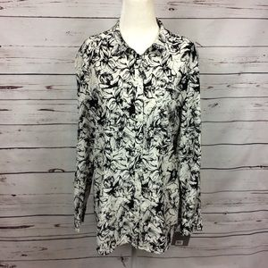 🔖[Nordstrom] Button Down Blouse 100% Silk Floral